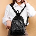 Soft PU Leather Double Shoulders School Bag Travel Backpack Bag (Black)