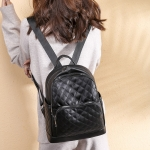 Rhombus Texture Soft PU Leather Double Shoulders School Bag Travel Backpack Bag (Black)