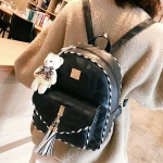 3 in 1 Envelope PU Leather Double Shoulders School Bag Travel Backpack Bag with Bear Doll Pendant