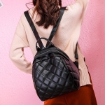 Rhombus Texture PU Leather Double Shoulders School Bag Travel Backpack Bag (Black)