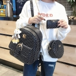 3 in 1 Star Pattern Double Shoulders School Bag Travel Backpack Bag with Bear Doll Pendant (Black)