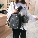 3 in 1 Embroidered Floral Pattern Double Shoulders School Bag Travel Backpack Bag with Bear Doll Pendant (Black)