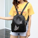 Embroidered Flying Insect Love Flower PU Leather Double Shoulders School Bag Travel Backpack Bag (Butterfly)