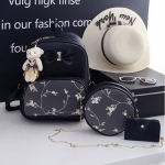 3 in 1 Bow & Embroidered Floral Pattern Double Shoulders School Bag Travel Backpack Bag with Bear Doll Pendant (Black)