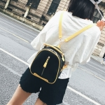 Litchi Texture PU Leather Double Shoulders School Bag Mini Travel Backpack Bag (Black)