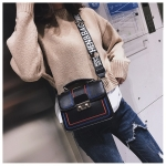 Casual PU Shoulder Bag Embroidery Thread Ladies Handbag Messenger Bag (Black)
