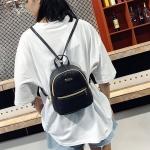 Mini PU Leather Double Shoulders School Bag Travel Backpack Bag (Black)