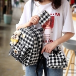 3 in 1 Lattice Stars Pattern PU Leather Double Shoulders School Bag Travel Backpack Bag with Bear Doll Pendant (Black)