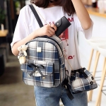 3 in 1 Lattice Bow Pattern PU Leather Double Shoulders School Bag Travel Backpack Bag with Bear Doll Pendant (Blue)