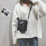 Snakeskin Texture Square PU Shoulder Bag Ladies Handbag Messenger Bag (Black)