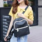 PU Leather Double Shoulders School Bag Travel Backpack Bag with Earphone Line Hole (Black)
