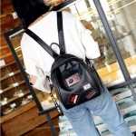 Fashion Element Pattern Multifunctional PU Leather Double Shoulders School Bag Travel Backpack Bag (Black)