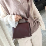 Flat Texture Square Bag PU Leather Shoulder Bag Ladies Handbag Messenger Bag (Wine Brown)