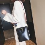 PU Leather Shoulder Travel Backpack Bag (Black)