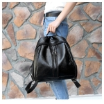 Multi-function Anti-theft Waterproof Casual Fashion Ladies Backpack Crossbody Bag (Black)