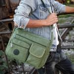 Canvas Single Shoulder Bag School Bag Travel Backpack Bag (Army Green)