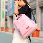 Double Zipper Design Polyester Double Shoulders School Bag Travel Backpack Bag (Pink)