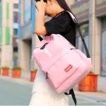 Double Zipper Design Polyester Double Shoulders School Bag Travel Backpack Bag (Pink)