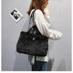 Casual Plush Single Shoulder Bag Chain Bag Ladies Handbag, Small Size (Black)