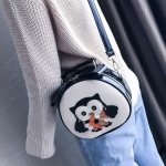 Owl Pattern Contrast Color Patent PU Leather Shoulder Bag Messenger Bag Ladies Handbag Small Round Bag (Black)