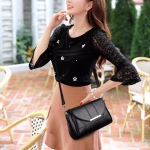 Multifunctional PU Leather Shoulder Crossbody Bag Women Handbag (Black)