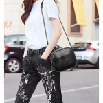 Multifunctional PU Leather Shoulder Crossbody Bag Shell Bag Women Handbag (Black)