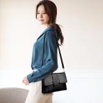 Chain PU Casual Shoulder Bag Messenger Bag Ladies Handbag (Black)