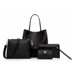 4 in 1 PU Leather Casual Shoulder Bag Messenger Bag Ladies Handbag (Black)