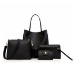 4 in 1 PU Leather Casual Shoulder Bag Messenger Bag Ladies Handbag (Black)