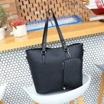 2 in 1 Big Capacity Solid Color Handbag For Women (Black)