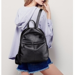PU Leather Casual Double Shoulders School Bag Travel Backpack Bag (Black)