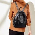 PU Casual Waterproof Double Shoulders School Bag Travel Backpack Bag