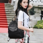 Fashion Oxford Double Shoulders School Bag Travel Backpack Bag (Black)