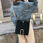 PU Casual Shoulder Bag Messenger Bag Ladies Handbag (Black)