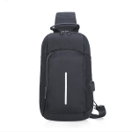 Multi-Function Nylon Portable Casual Chest Bag Outdoor Sports Shoulder Bag with Earphone Line Hole (Black)