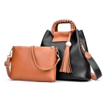 2 in 1 Casual PU Shoulder Bag Ladies Handbag Messenger Bag with Tassel (Black)