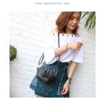 Casual PU Shoulder Bag Ladies Handbag Messenger Bag Shell Bag (Black)