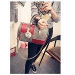 Casual PU Shoulder Bag Ladies Handbag Messenger Bag with Tassel (Red Grey)