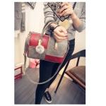 Casual PU Shoulder Bag Ladies Handbag Messenger Bag with Plush Ball (Red Grey)