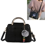 Small Square Bag Hairball Pendant Casual Single Shoulders Bag Ladies Handbag Messenger Bag (Black)