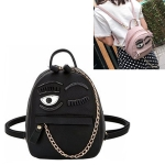 Wink Pattern Casual Double Shoulder Bag Ladies Handbag Messenger Bag (Black)