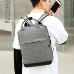 Multi-Function Terylene Portable Casual Double Shoulders Bag with USB Charging Hole (Gray)