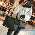 4 in 1 Fashionable PU Leather Women's Handbag Single-shoulder Bag Messenger Bag (Black)