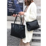 3 in 1 Fashionable PU Leather Women Handbag Single-shoulder Bag Messenger Bag (Black)