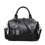 Fashion Casual Retro Oil PU Shoulder Bag Ladies Handbag Messenger Bag (Black)