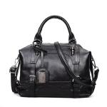 Fashion Casual Retro Oil PU Shoulder Bag Ladies Handbag Messenger Bag (Black)