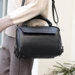 Casual PU Leather Shoulder Bag Ladies Handbag Messenger Bag (Black)
