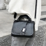 Casual PU Shoulder Bag Ladies Handbag Messenger Bag with Rivet (Black)