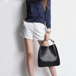2 in 1 Casual PU Shoulder Bag Ladies Handbag Messenger Bag (Black)