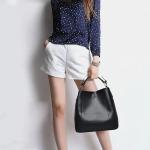 2 in 1 Casual PU Shoulder Bag Ladies Handbag Messenger Bag (Black)